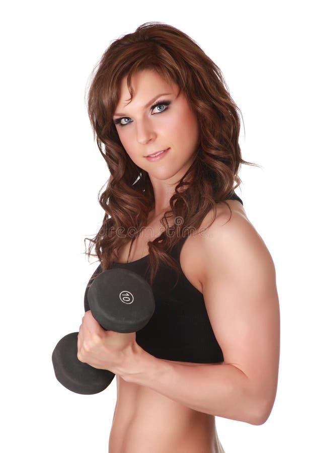 Menina do Weightlifting imagem de stock