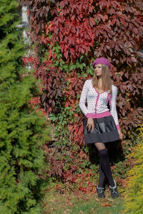 A menina doce bonita em uma boina e em uma saia anda entre a cor vermelha brilhante das folhas no dia ensolarado brilhante do par foto de stock