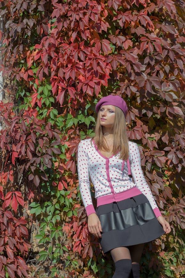 A menina doce bonita em uma boina e em uma saia anda entre a cor vermelha brilhante das folhas no dia ensolarado brilhante do par fotografia de stock