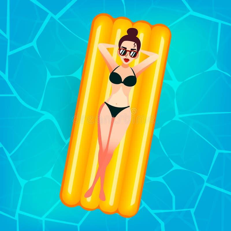 A menina doce dos desenhos animados em vidros de sol está flutuando em um colchão inflável na associação na casa de campo privada ilustração stock