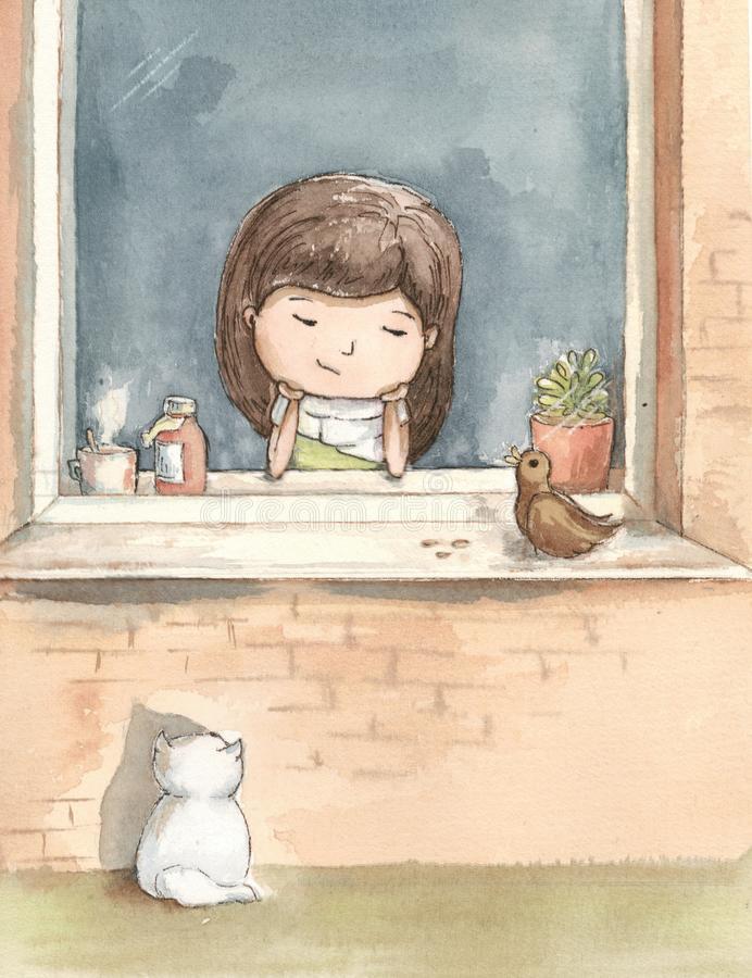 A menina doente é furada pela janela com um gato branco ilustração royalty free