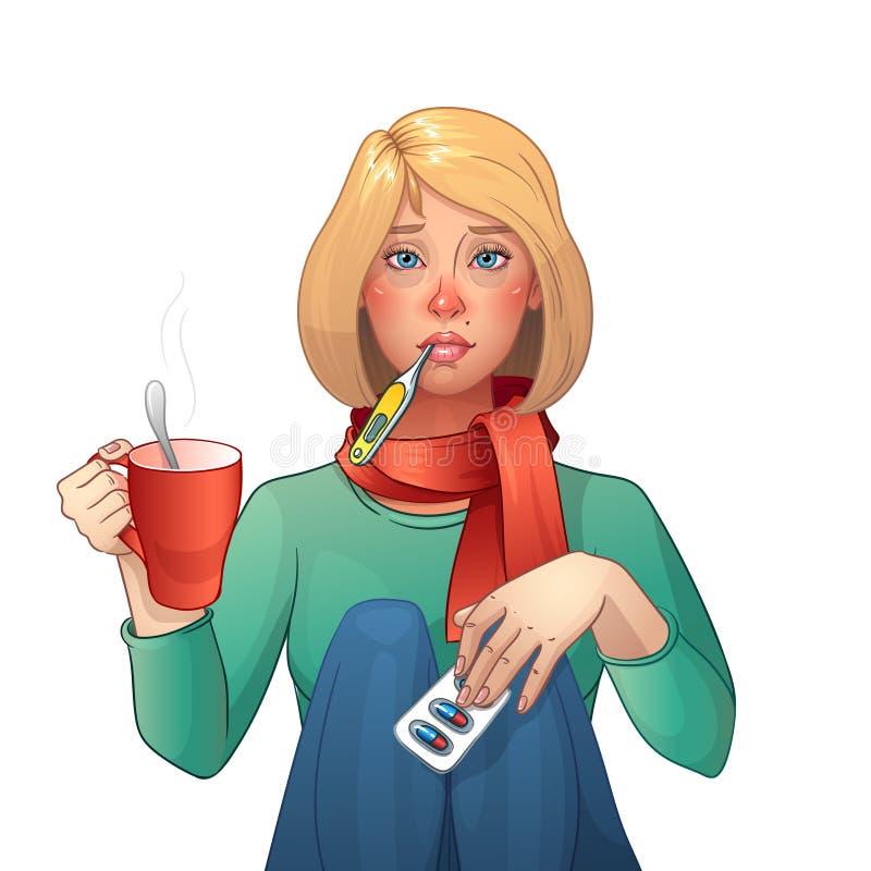 Menina doente frio Medicamentações, termômetro, copo do chá Ilustração isolada vetor Personagem de banda desenhada ilustração do vetor