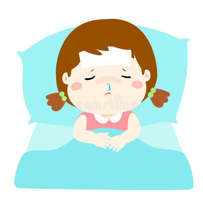 Menina doente pequena em desenhos animados da cama ilustração royalty free