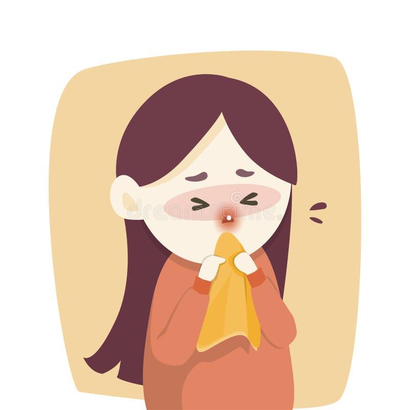 A menina doente tem o nariz ralo, frio travado espirrando no tecido, gripe, estação da alergia, ilustração do vetor ilustração royalty free