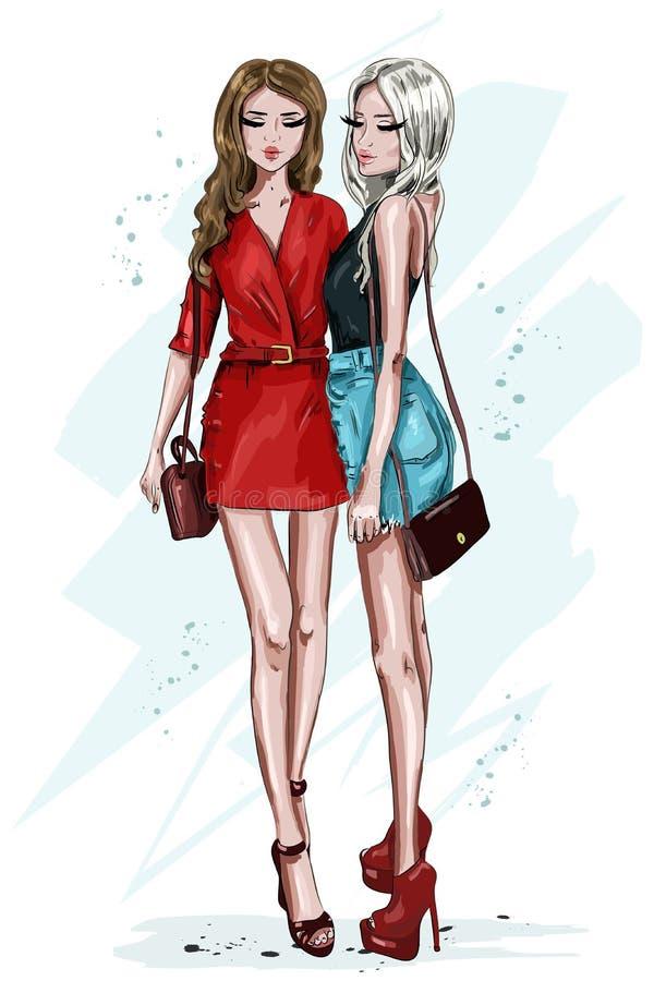 Menina dois bonita à moda com acessórios Mulheres tiradas mão da forma Mulheres na roupa do verão esboço ilustração do vetor