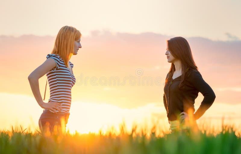 Menina dois bonita no por do sol que tem uma argumentação na natureza fotos de stock royalty free