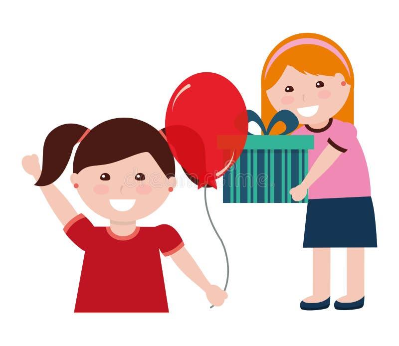 Menina dois com presente e balão de aniversário ilustração royalty free