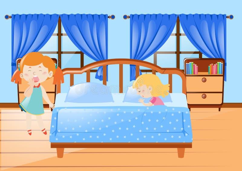 Menina dois que obtém na cama ilustração stock