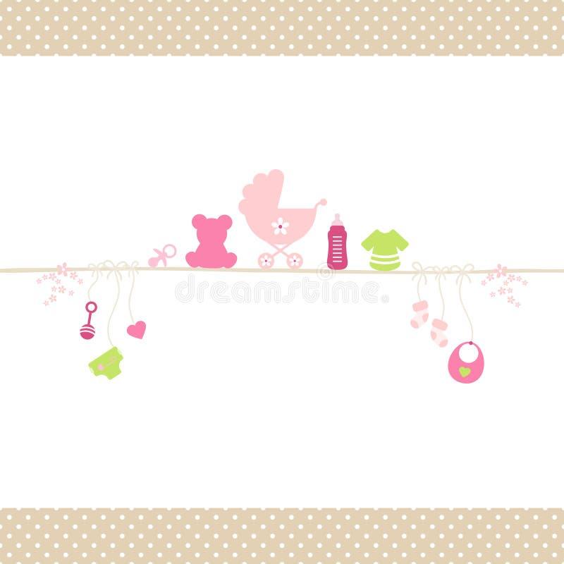 Menina dos ícones do bebê na corda reta Dots Border Beige ilustração stock