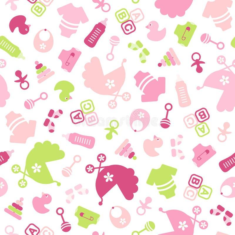 A menina dos ícones do bebê do teste padrão encheram o rosa e verde sem emenda ilustração do vetor