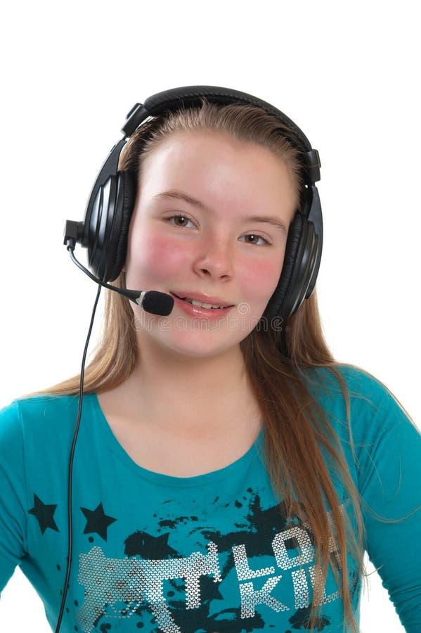 Download Menina Dos Adolescentes Com Auscultadores Foto de Stock - Imagem de atrativo, curly: 16851646