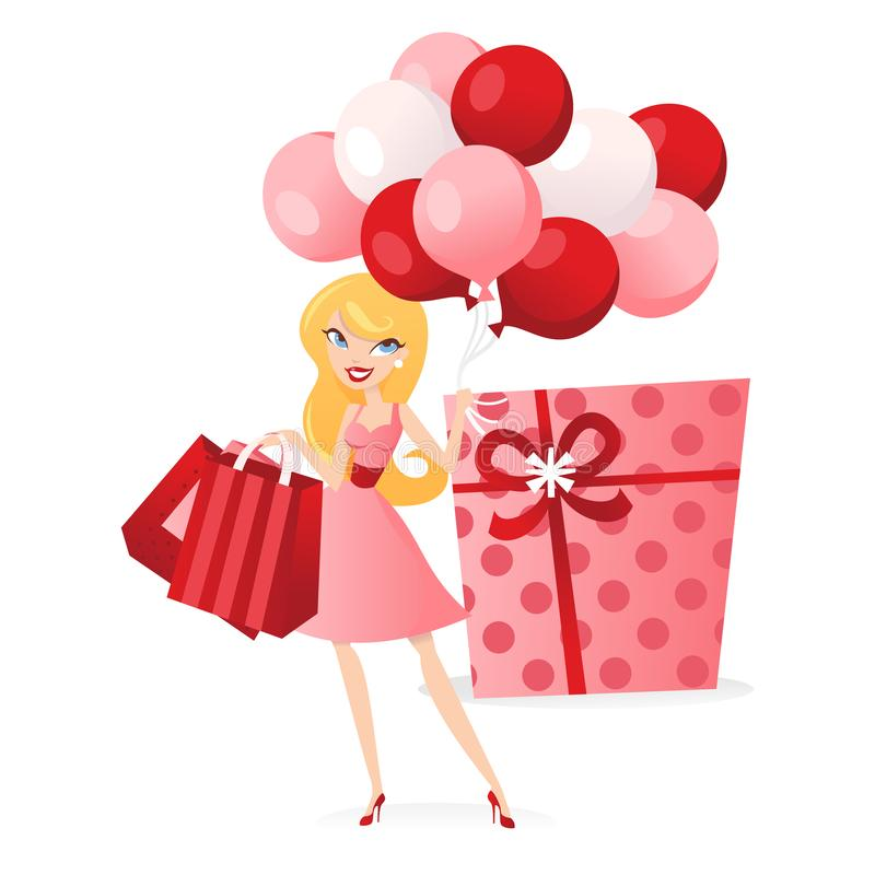 Menina dos balões dos presentes ilustração stock