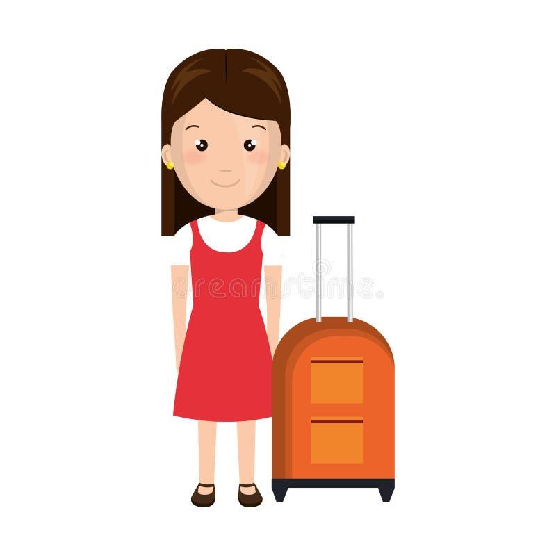Menina dos desenhos animados com bagagem bonito do vestido e do curso ilustração royalty free