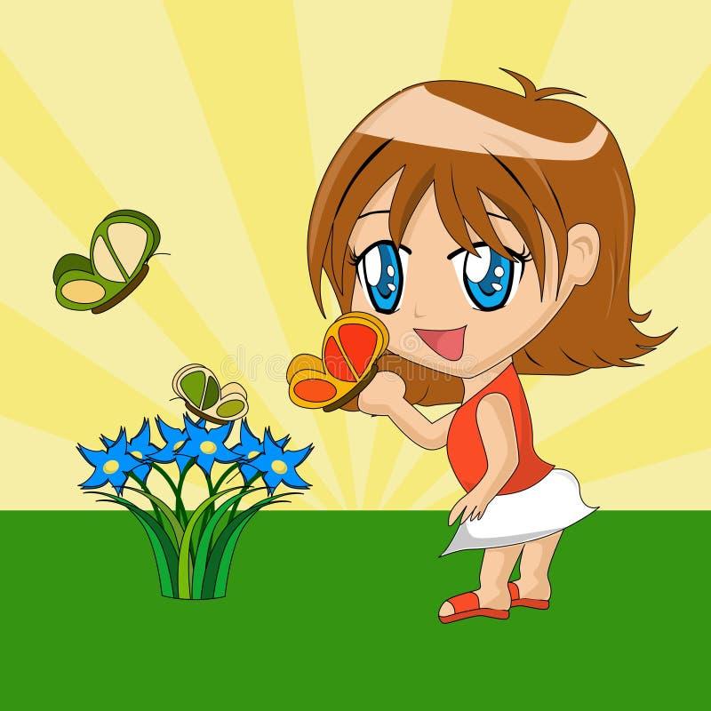 Menina dos desenhos animados com borboleta ilustração royalty free