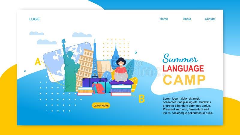 A menina dos desenhos animados com caderno aprende línguas no exterior ilustração royalty free