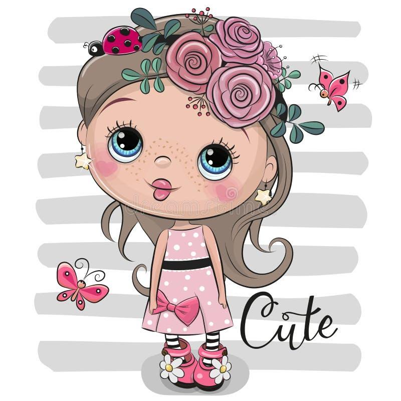 Menina dos desenhos animados com flores e joaninha ilustração stock