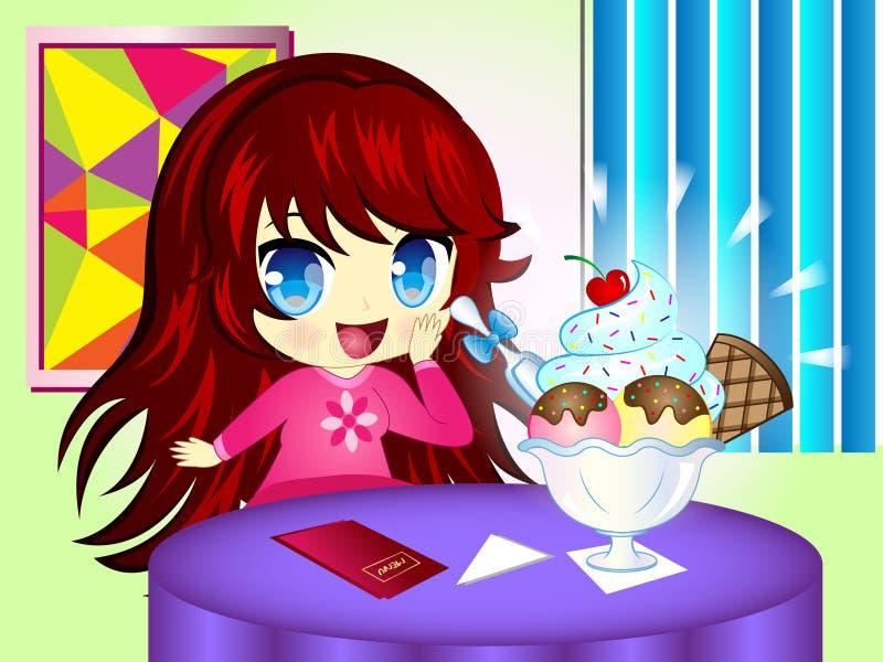 Menina dos desenhos animados com gelado ilustração stock