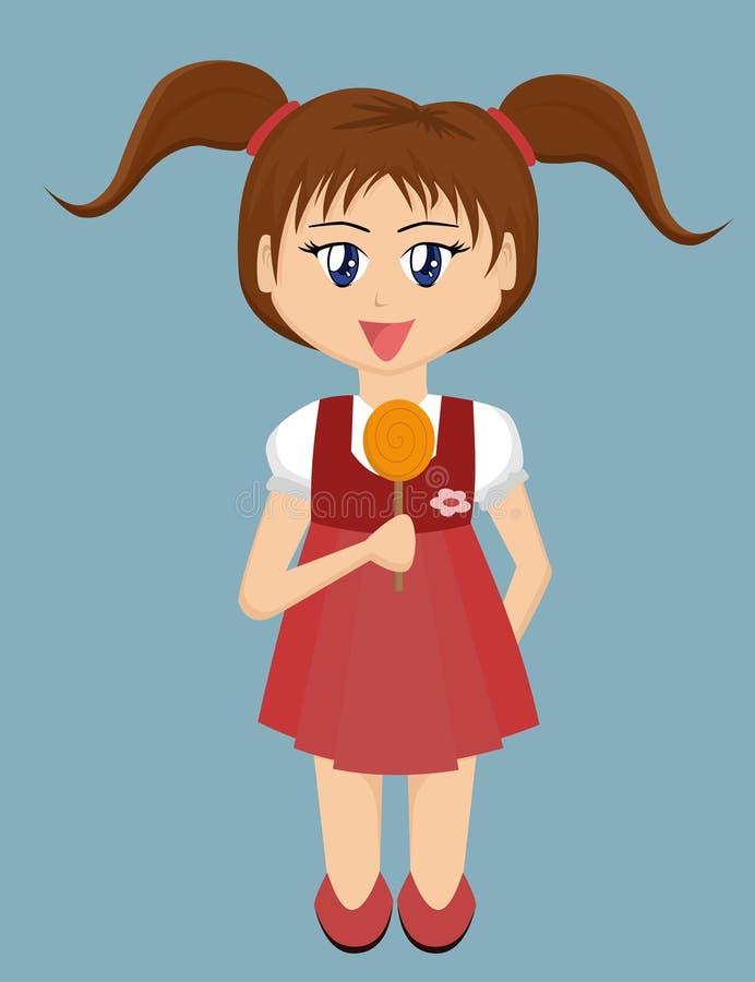 Menina dos desenhos animados com Lollipop ilustração royalty free
