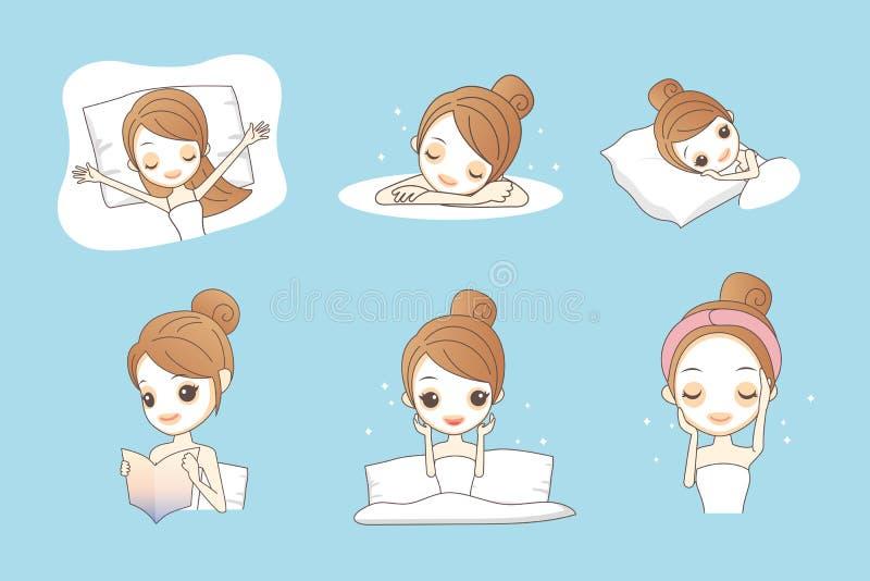 Menina dos desenhos animados com máscara facial ilustração stock