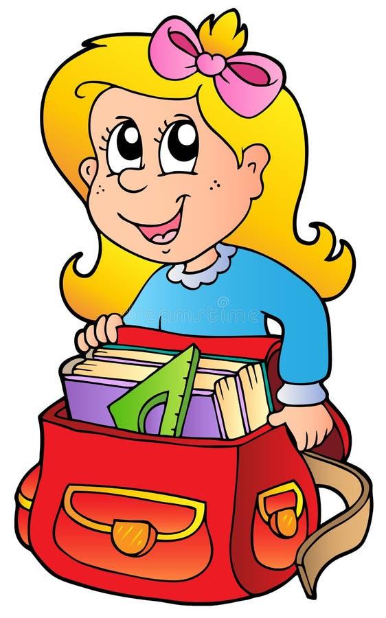 Menina dos desenhos animados com saco de escola ilustração do vetor