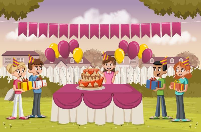 Menina dos desenhos animados com seus amigos em uma festa de anos no quintal de uma casa colorida ilustração do vetor