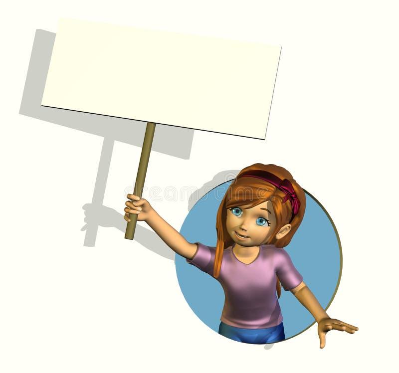 Menina dos desenhos animados com sinal em branco ilustração stock