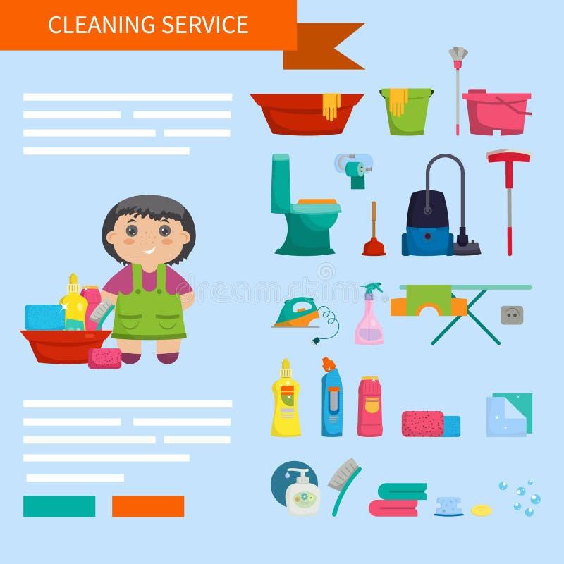 Menina dos desenhos animados com um grupo de objetos para limpar a casa em um b ilustração do vetor