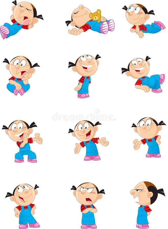 Menina dos desenhos animados em várias poses ilustração do vetor