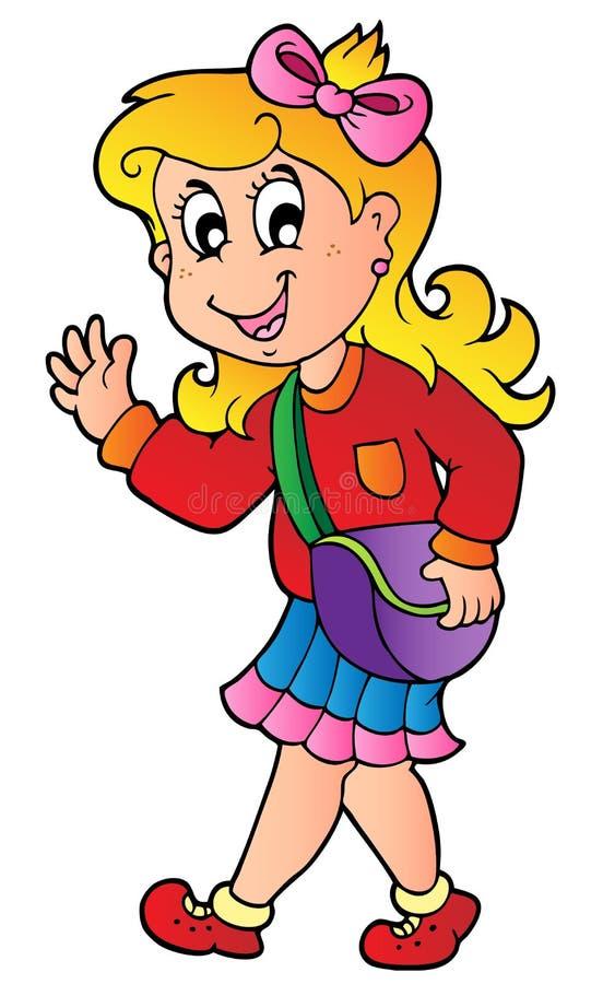 Menina dos desenhos animados que anda à escola ilustração stock