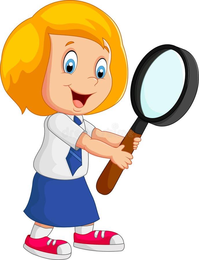Menina dos desenhos animados que guarda o magnifer ilustração royalty free