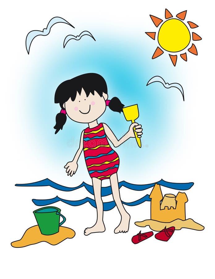 Menina dos desenhos animados que joga na praia ilustração royalty free