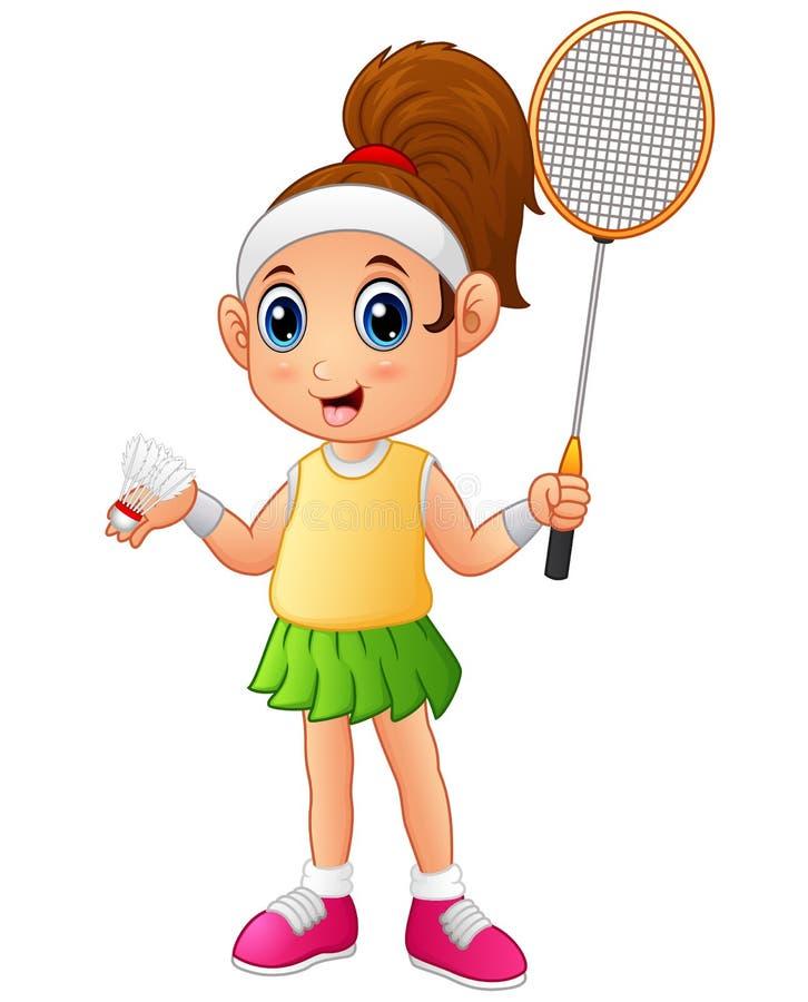 Menina dos desenhos animados que joga o badminton ilustração royalty free