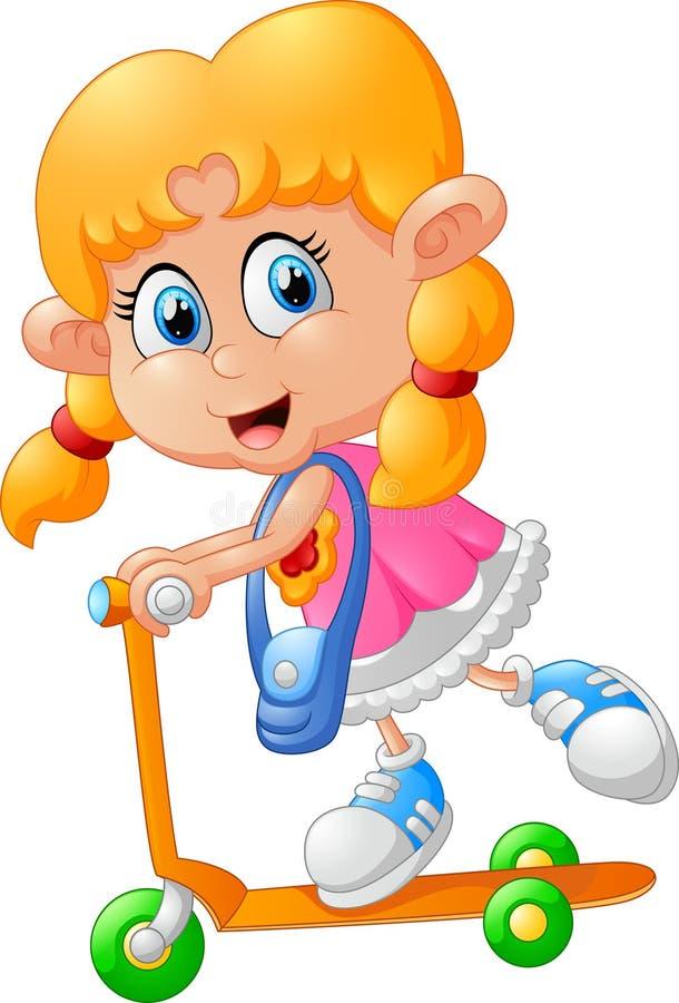 Menina dos desenhos animados que joga o 'trotinette' ilustração stock