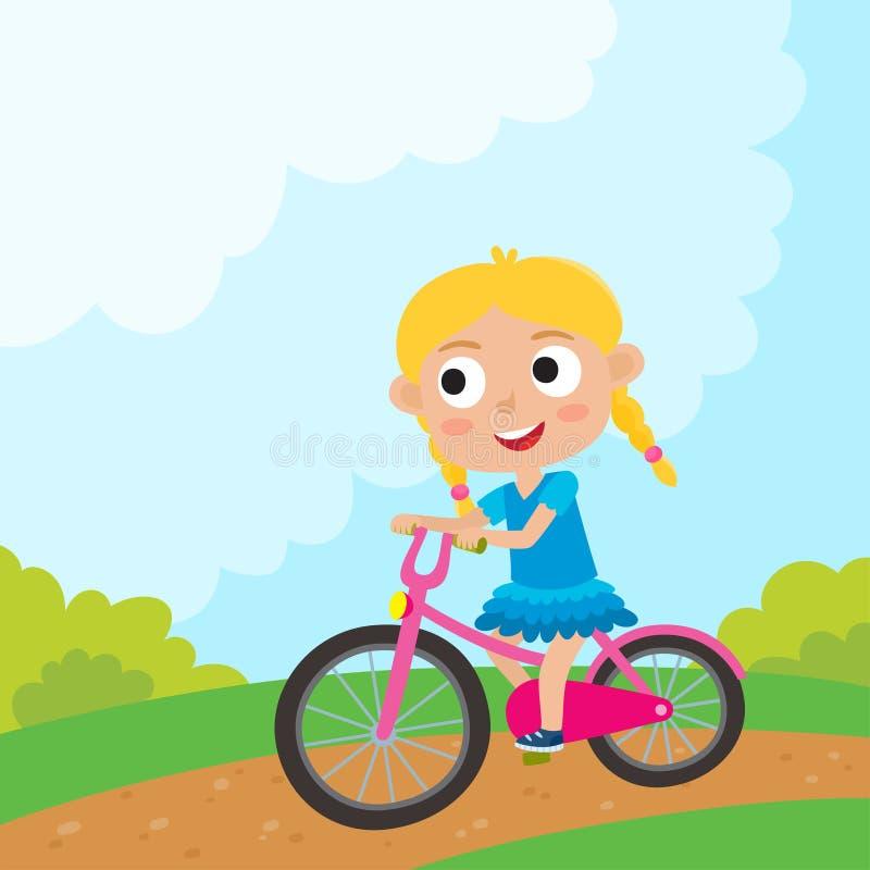 A menina dos desenhos animados que monta uma bicicleta que tem a equitação do divertimento bicycles no parque H ilustração stock