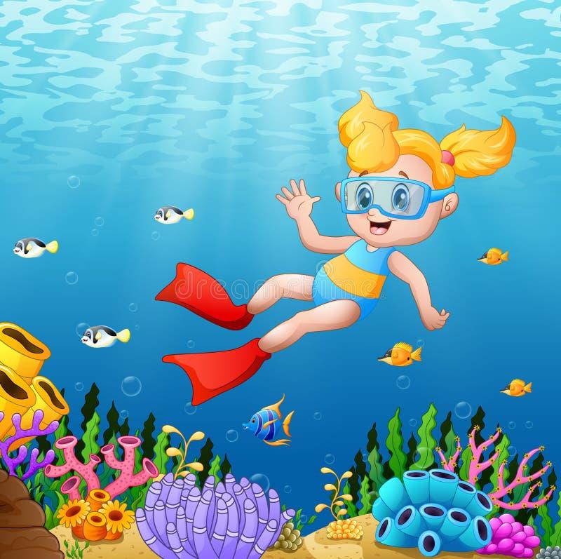 Menina dos desenhos animados que nada debaixo d'água com peixes ilustração royalty free