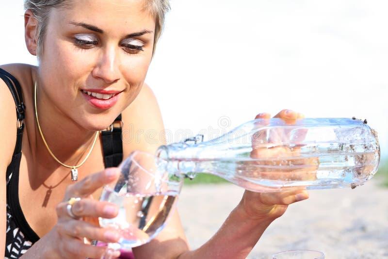 Menina e água fotos de stock