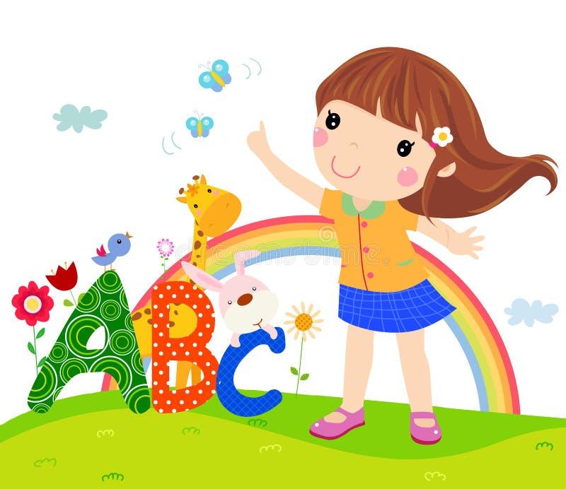 Menina e ABC ilustração royalty free