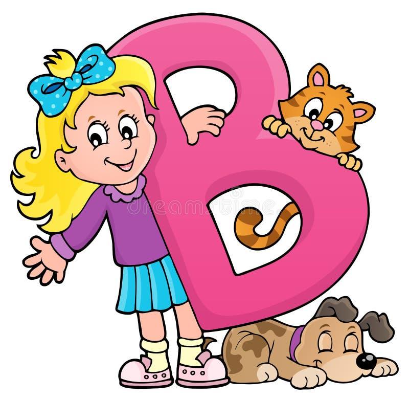 Menina e animais de estimação com letra B ilustração do vetor