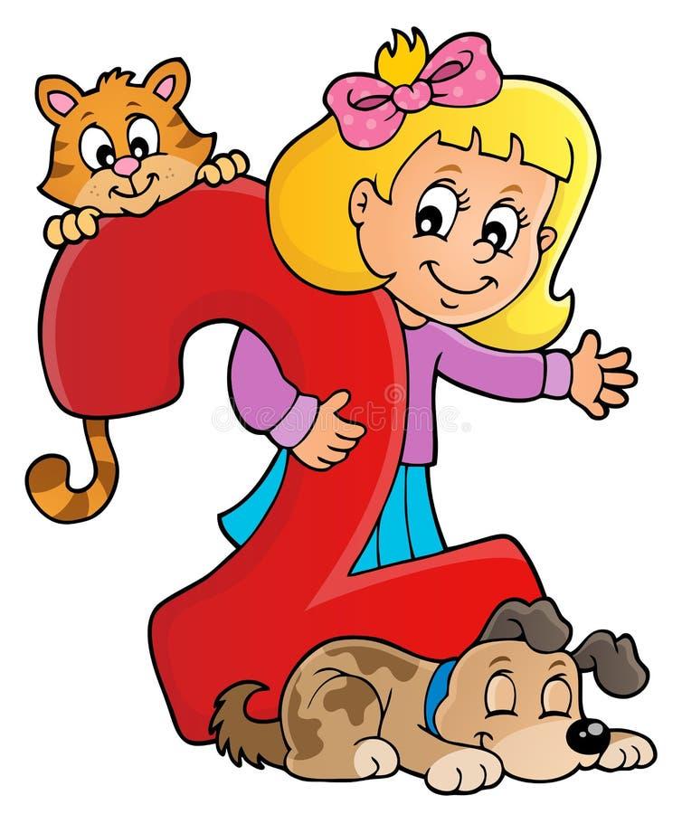 Menina e animais de estimação com número dois ilustração do vetor