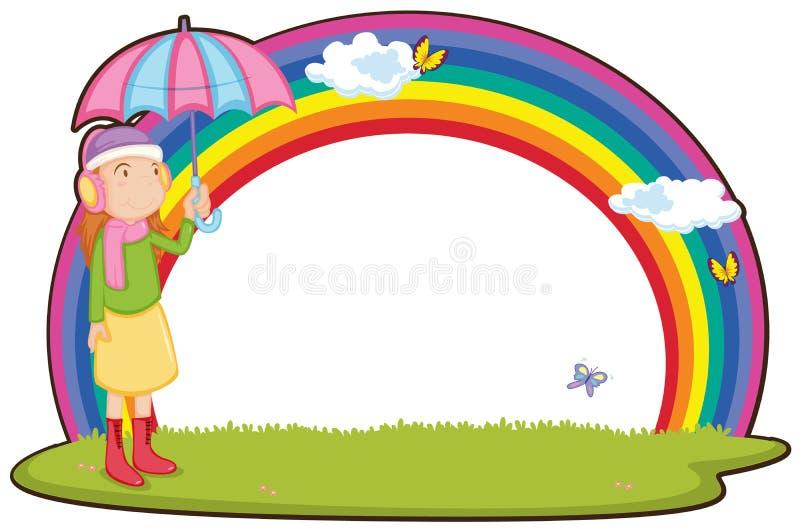 Menina e arco-íris ilustração royalty free