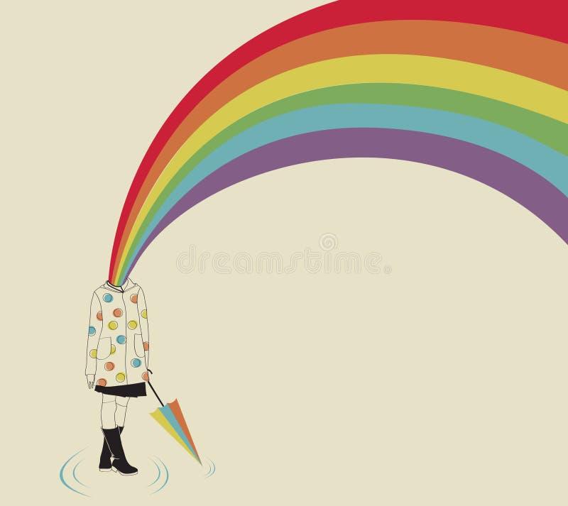 Menina e arco-íris ilustração do vetor