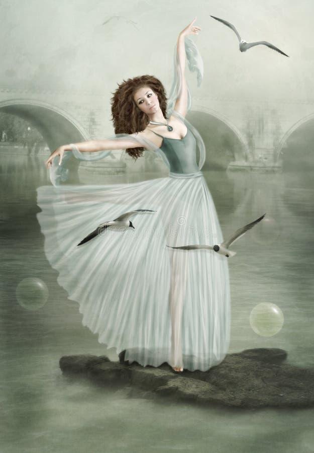 A menina e as gaivotas fotografia de stock royalty free