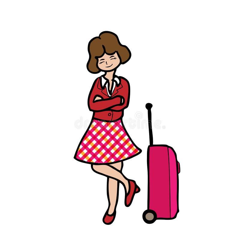 Menina e bagagem do curso ilustração stock
