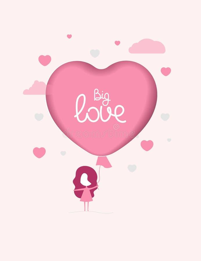 Menina e balão cor-de-rosa ilustração do vetor
