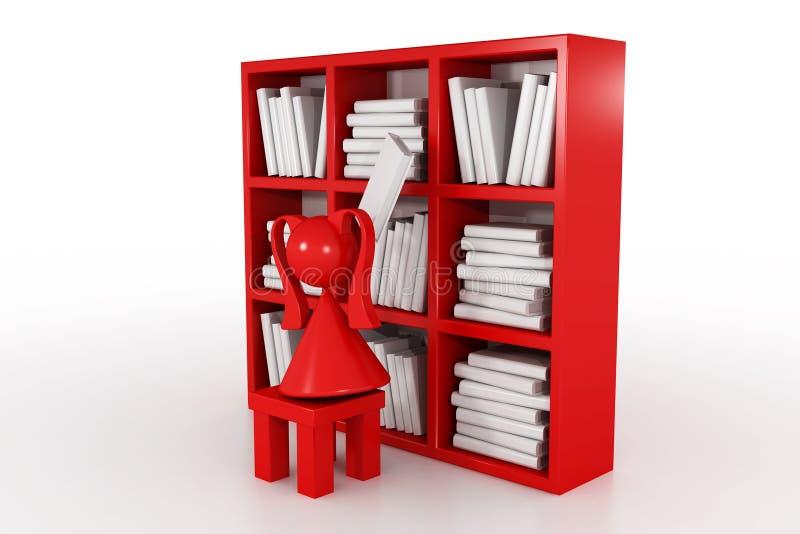 Menina e biblioteca ilustração stock
