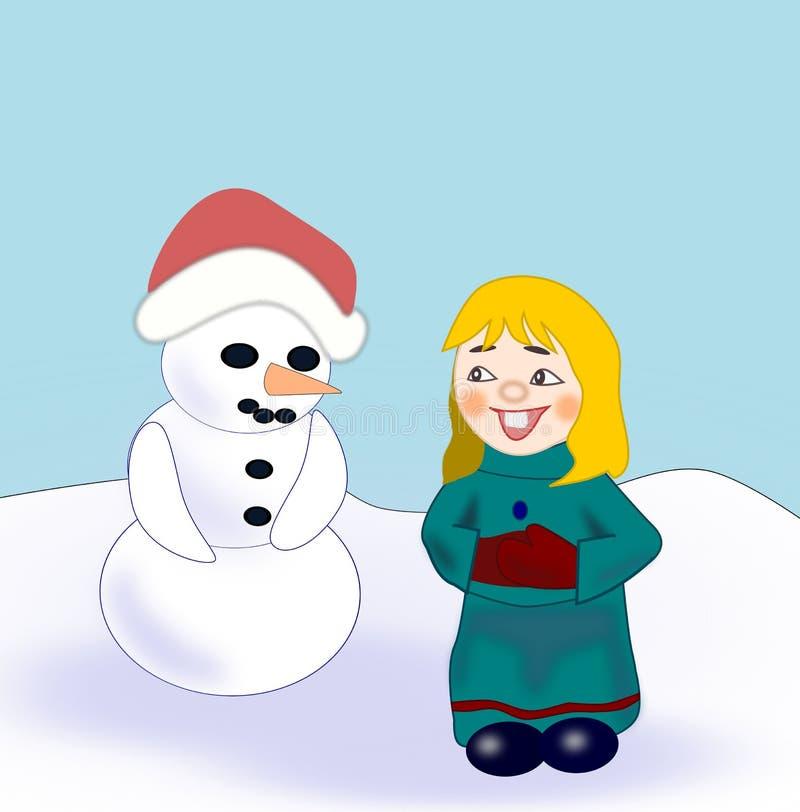 Menina e boneco de neve engraçados ilustração stock