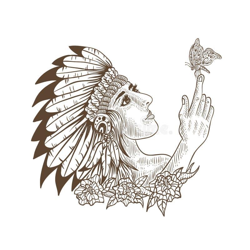 Menina e borboleta do nativo americano handdrawn ilustração stock