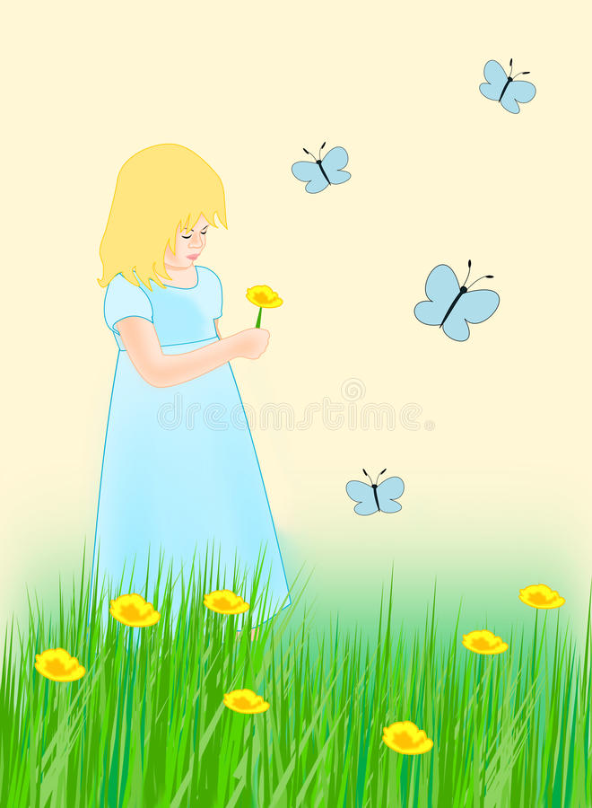 Menina e borboletas ilustração do vetor