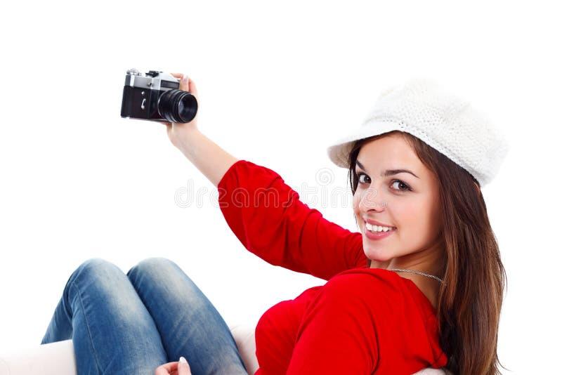 Menina e câmera do estilo velho fotografia de stock