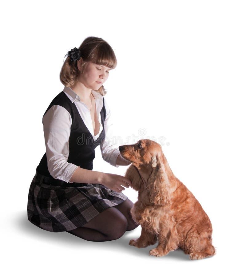 Download Menina e cão imagem de stock. Imagem de marrom, friendship - 10058261